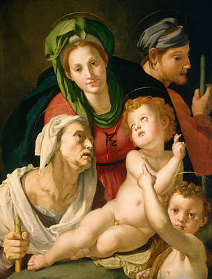 Nude Painting - The Holy Family by Bronzino