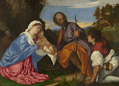 Baby Painting - The Holy Family With A Shepherd by Titian
