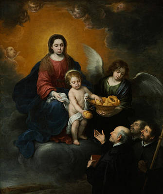 Jesus Art Painting - The Infant Christ Distributing Bread To The Pilgrims by Bartolome Esteban Murillo