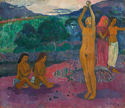 Frontal Nude Painting - The Invocation by Paul Gauguin