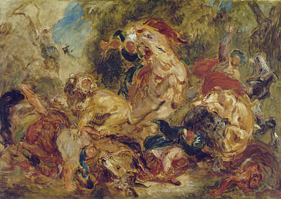 The Lion Hunt Art Print by Eugene Delacroix