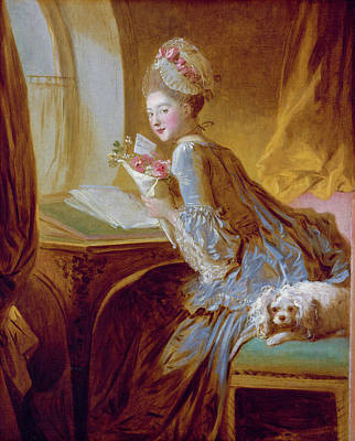 Table Painting - The Love Letter by Jean-Honore Fragonard