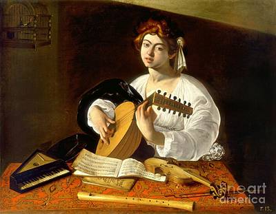 Painting - The Lute-player by Celestial Images