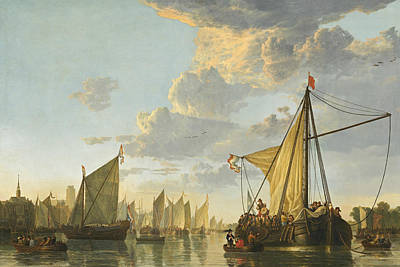 Maas Painting - The Maas At Dordrecht by Aelbert Cuyp