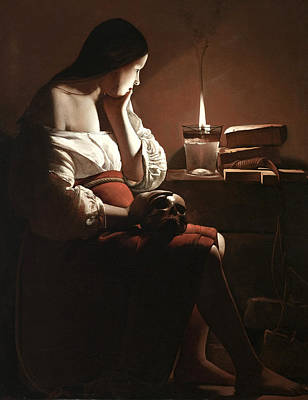 Darkness Painting - The Magdalen With The Smoking Flame by Georges de la Tour