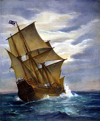 Engraving Photograph - The Mayflower by Granger