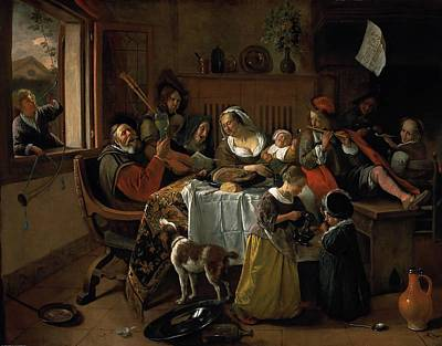 Painting - The Merry Family by Jan Steen