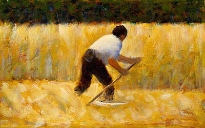 Pointilist Painting - The Mower by Georges Seurat