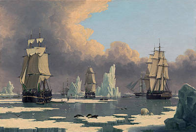 Painting - The Northern Whale Fishery The Swan And Isabella by John Ward of Hull