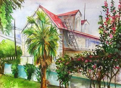Painting - The Old House by Katerina Kovatcheva