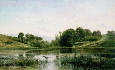 Park Painting - The Ponds Of Gylieu by Charles-Francois Daubigny