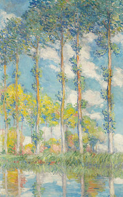Blue And Green Painting - The Poplars by Claude Monet
