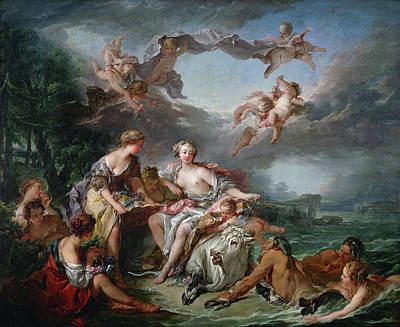 Zeus Painting - The Rape Of Europa by Francois Boucher