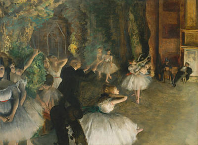 The Rehearsal Of The Ballet Onstage Art Print by Edgar Degas