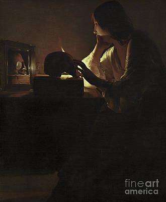 Contemplative Painting - The Repentant Magdalen by Georges de la Tour