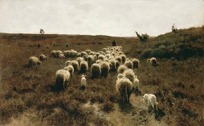 Dutch Shepherd Painting - The Return Of The Flock, Laren by Anton Mauve