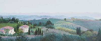 San Gimignano Painting - The Rolling Hills Of Tuscany by Jan Matson