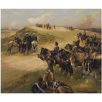 Horse In Action Painting - The Royal Horse Artillery In Action by William Kennedy