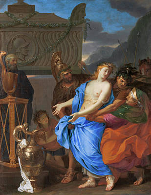 Troy Painting - The Sacrifice Of Polyxena by Charles Le Brun
