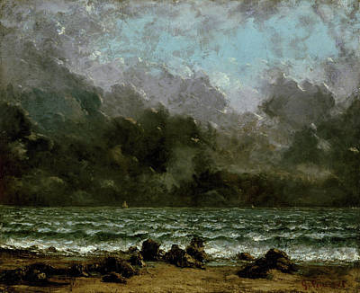 Beach Painting - The Sea by Gustave Courbet