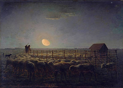 The Sheepfold Moonlight Millet Painting - The Sheepfold. Moonlight by Jean Francois Millet