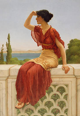 Sandals Painting - The Signal by John William Godward