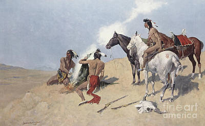 Painting - The Smoke Signal by Frederic Remington