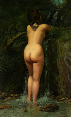 Courbet Painting - The Source  by Gustave Courbet