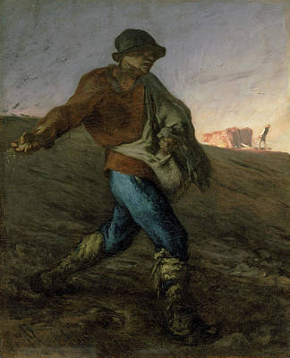 Working Painting - The Sower by Jean-Francois Millet