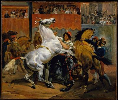Race Horse Painting - The Start Of The Race Of The Riderless Horses by Horace Vernet