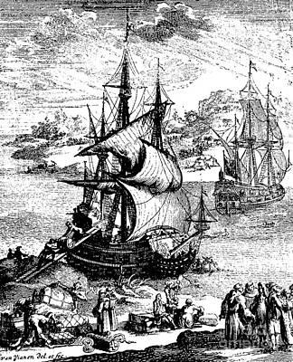 The Stranding Of The Aimable, Matagorda Bay, Texas, 1685 Art Print