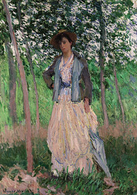 Painting - The Stroller by Claude Monet