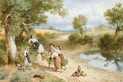 Drawing - The Swing by Myles Birket Foster