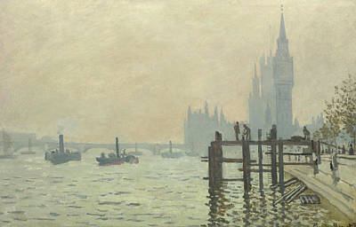 Victoria Embankment Painting - The Thames Below Westminster by Claude Monet