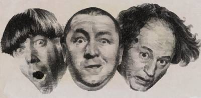 Marilyn Monroe Drawing - The Three Stooges Hollywood Legends by John Springfield