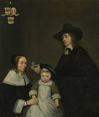 Painting - The Van Moerkerken Family by Gerard ter Borch