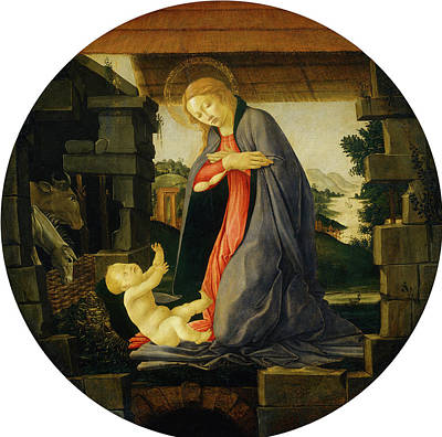 Painting - The Virgin Adoring The Child by Sandro Botticelli