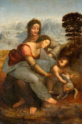 Church Painting - The Virgin And Child With St. Anne by Leonardo da Vinci