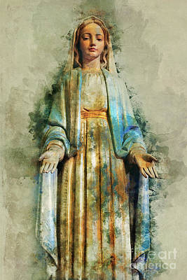 God Mixed Media - The Virgin Mary by Ian Mitchell