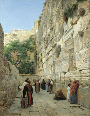 Jewish Painter Painting - The Wailing Wall, Jerusalem by Gustav Bauernfeind
