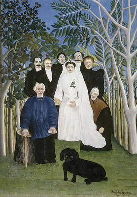 Party Scene Painting - The Wedding Party by Henri Rousseau