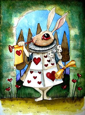 Alice Wonderland Painting - The White Rabbit by Lucia Stewart