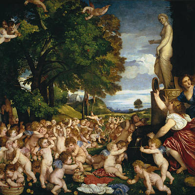 Fertility Painting - The Worship To Venus by Titian