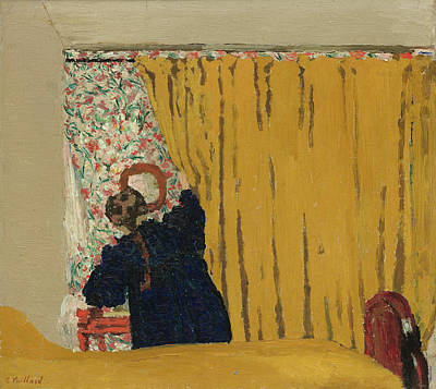 Bed Painting - The Yellow Curtain by Edouard Vuillard