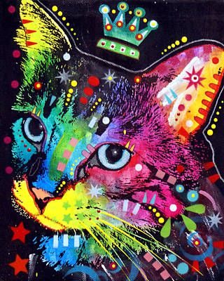 Thinking Cat Crowned Art Print by Dean Russo