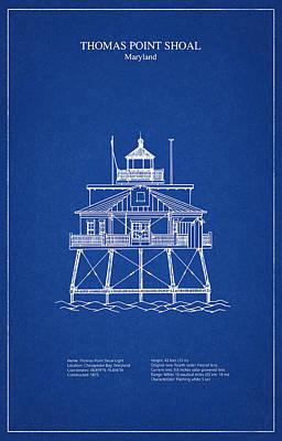 Beach Digital Art - Thomas Point Shoal Lighthouse - Maryland - Blueprint Drawing by Jose Elias - Sofia Pereira