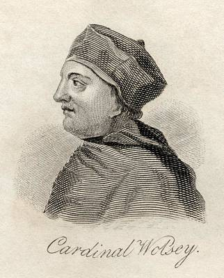 Cardinal Drawing - Thomas Wolsey C1475-1530 English by Vintage Design Pics