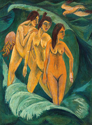 Outdoor Nude Painting - Three Bathers by Ernst Ludwig Kirchner