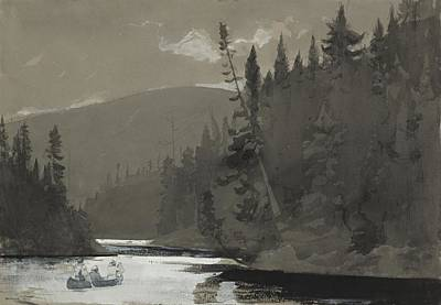 Bates Painting - Three Men In A Canoe by Winslow Homer