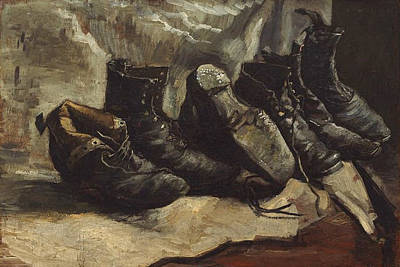 Shoe Painting - Three Pairs Of Shoes by Vincent van Gogh